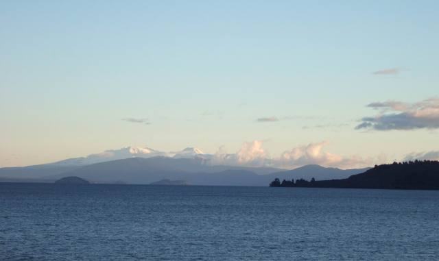 Ruapehu Ngauruhoe and Tongariro from Taupo