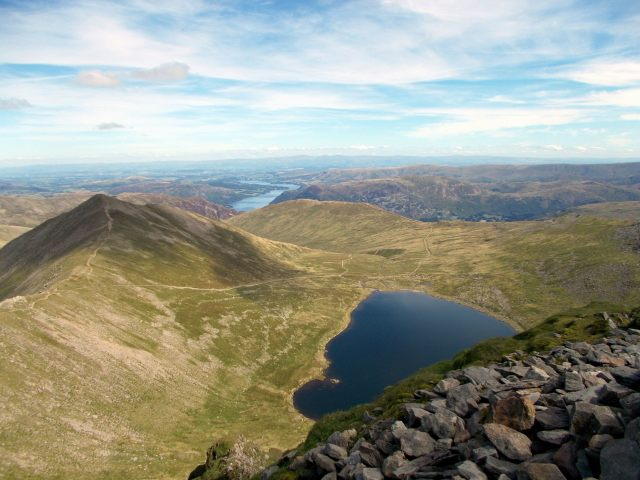 helvellyn summit view to ullswater